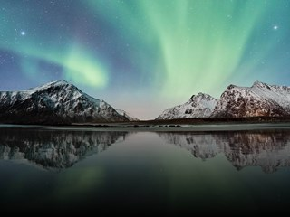 Mountains and northern light